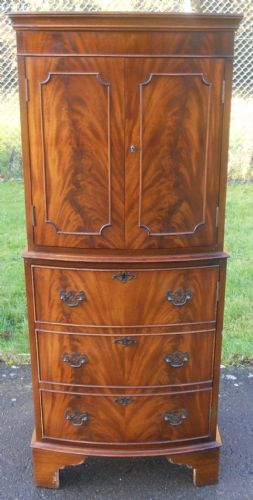 Mahogany Bowfront Cocktail Cabinet by Burton Reproductions